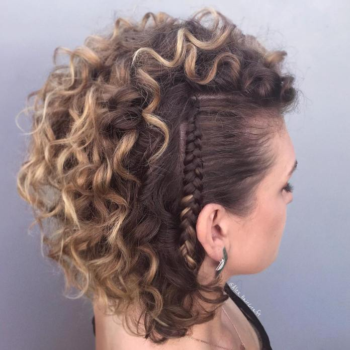 Maggie-Curls-with-SIde-Narrow-Braid Worth Trying Curly Hairstyles with Braids