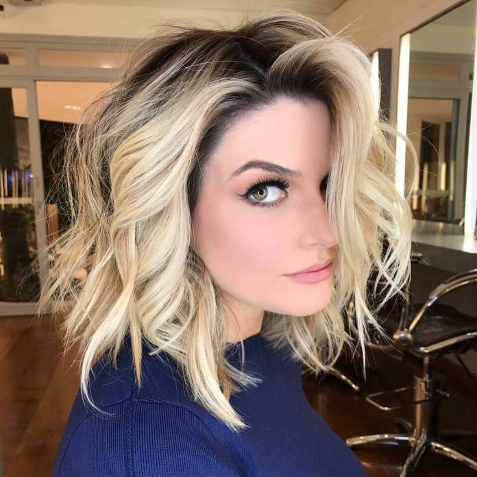 Messy-Bob-with-Blonde-Highlights Top Trending Medium Hairstyles for Girls