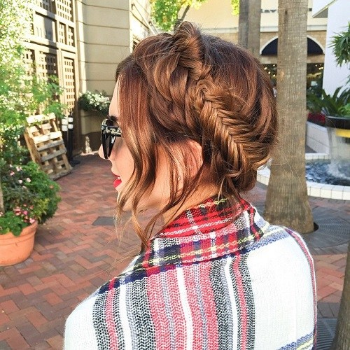 Messy-Fishtail Best Milkmaid Hairstyles – Pretty Milkmaid Braid for Women