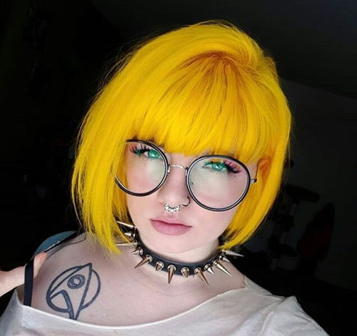 Neon-Blonde-Hair Best Short Hair Color Ideas and Trends for Girls