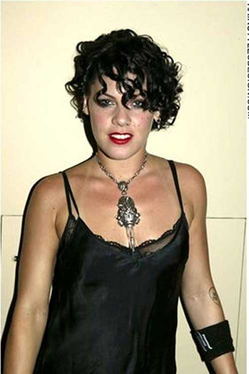 Pink's-Curly-Short-Hairstyle Celebrity Short Curly Hairstyles