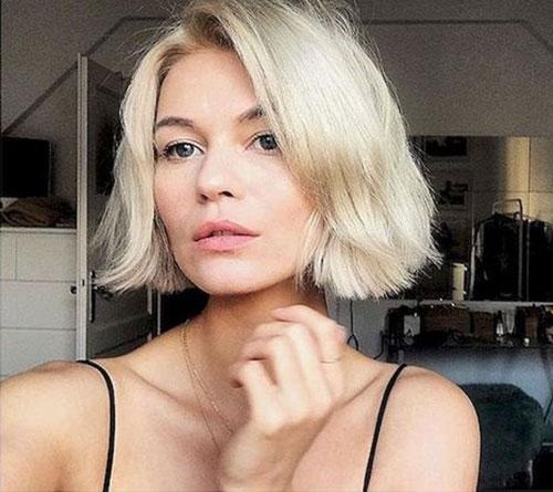 Platinum-Blonde-Adorable-Bob Latest Cute Hairstyles for Short Hair