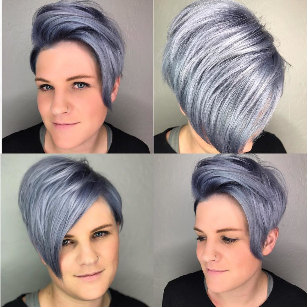 Purple-Grey-Angular-Haircut Marvelous Modern Short Haircuts for Women