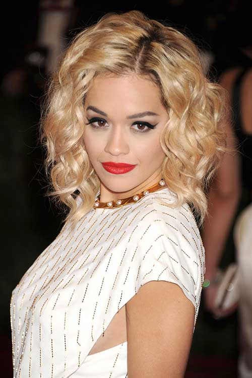 Rita-Ora's-Appealing-Hair-with-Curls Celebrity Short Curly Hairstyles
