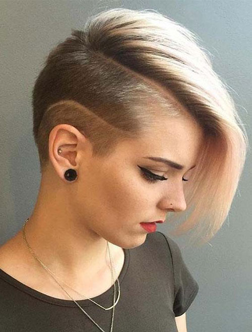 Shaved-Side Super Short Blonde Pixie Cuts