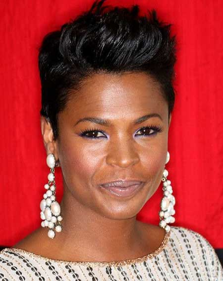 Short-Boyish-Hairdo-with-Spiky-Front Super Short Haircuts for Black Women