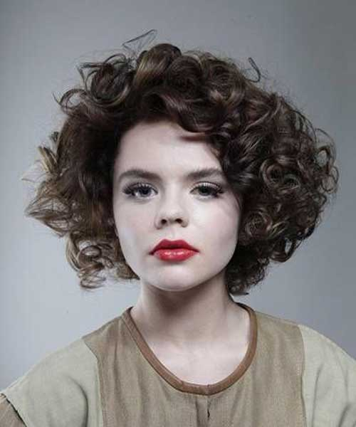 Short-Thick-Curly-Brown-Hairstyle Best Short Thick Curly Hairstyles