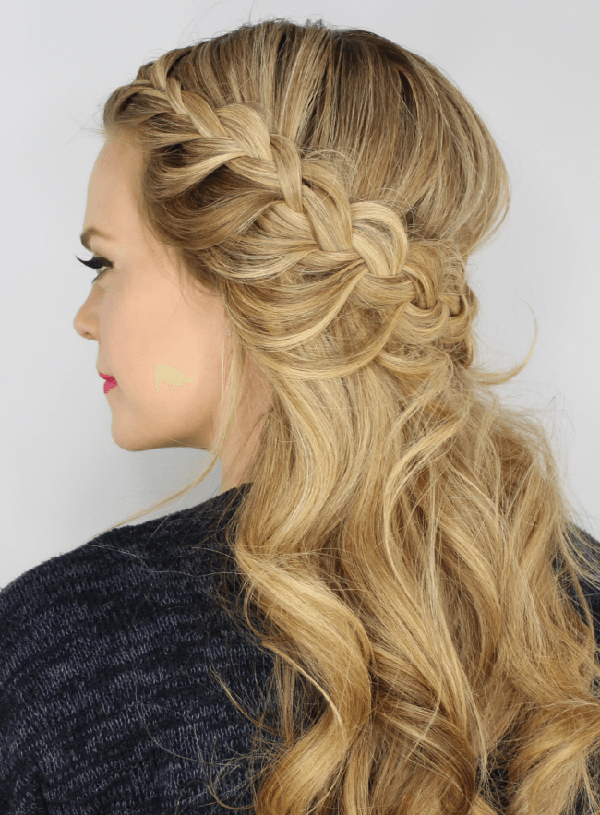 Side-Intended-Waterfall-Braid-on-Curly-Hair Worth Trying Curly Hairstyles with Braids