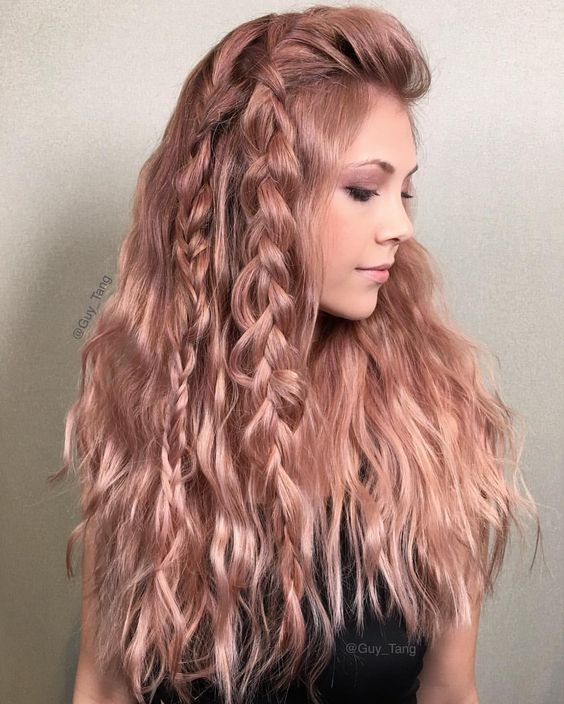 Stacked-back-Long-Hair-with-Braids Adorable Hairstyles for Long Hair