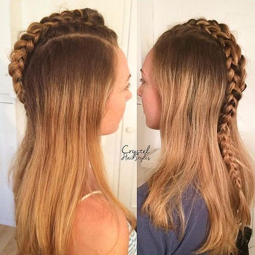 Unicorn-Braid Faux Hawk Hairstyle for Women – Trendy Female Fauxhawk Hair Ideas