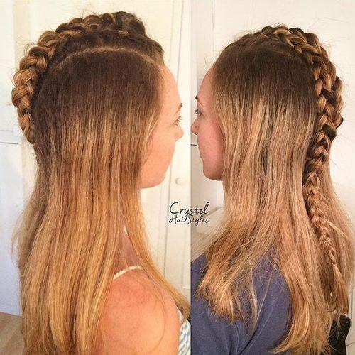 Unicorn-Braid Faux Hawk Hairstyle for Women – Trendy Female Fauxhawk Hair Ideas