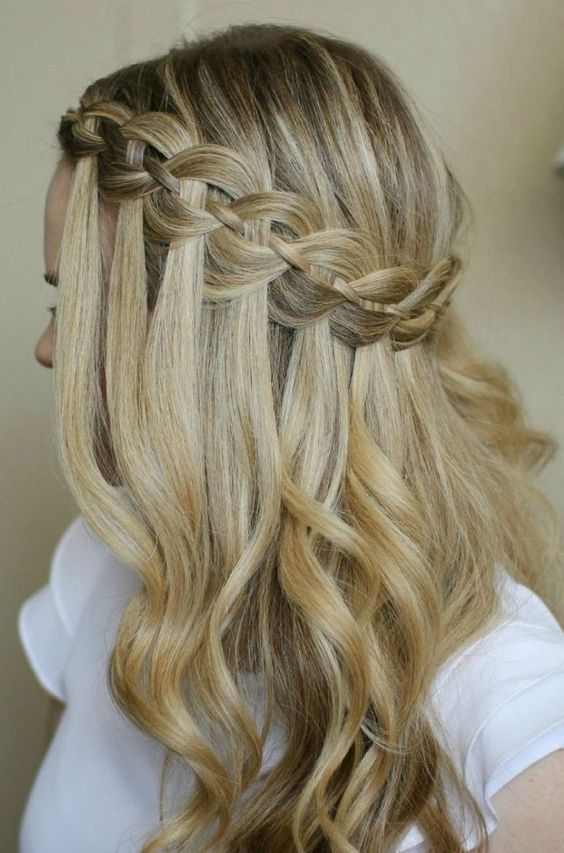 Waterfall-Hair-with-Braids Adorable Hairstyles for Long Hair