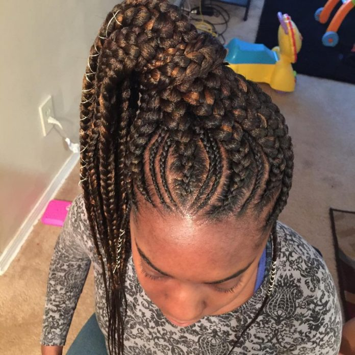 Braided-Pony-Hairstyle Best African American Hairstyles with Color