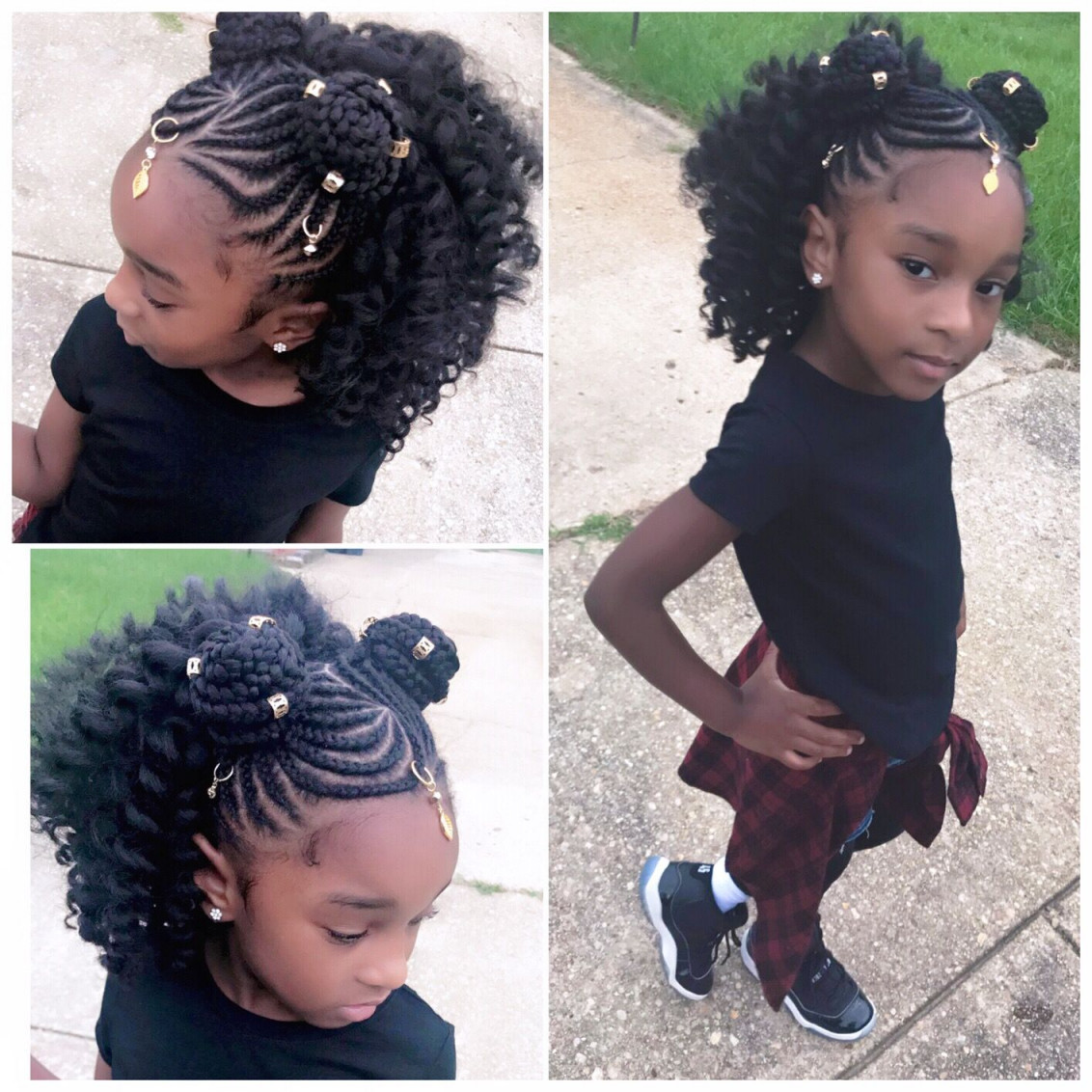 Cornrow-Braids-with-Two-High-Buns-on-Both-Sides Cutest African American Kids Hairstyles