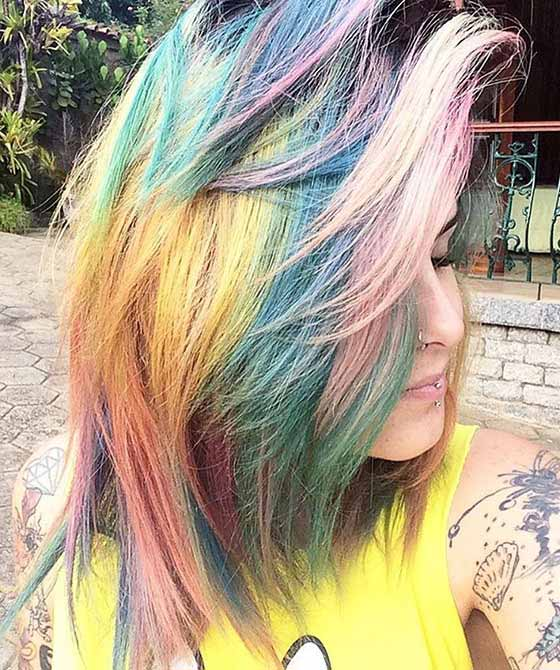 Dense-Rainbow-Bangs Layered Hairstyles With Bangs