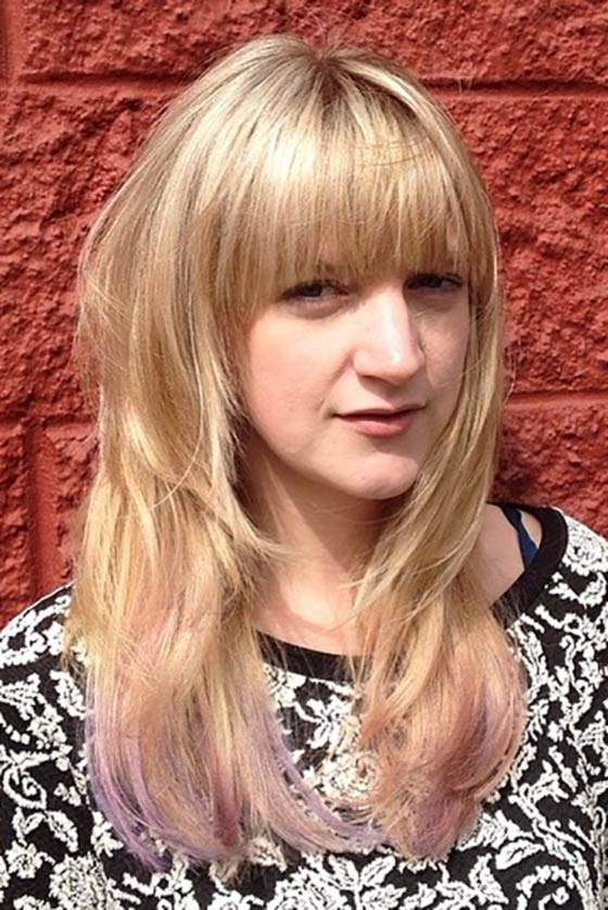 Dip-Dyed-Layers-With-Blunt-Bangs Layered Hairstyles With Bangs