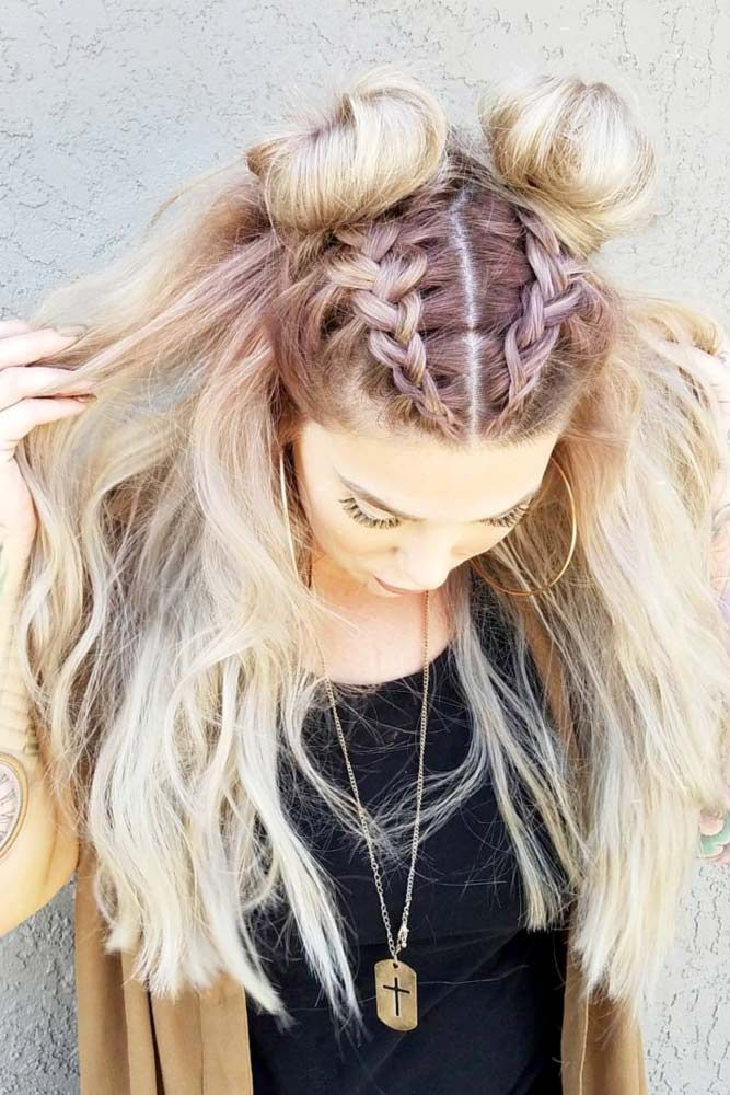 Double-Buns-with-Front-Braid-Hairstyle Spring Hairstyles to Outshine Your Beauty