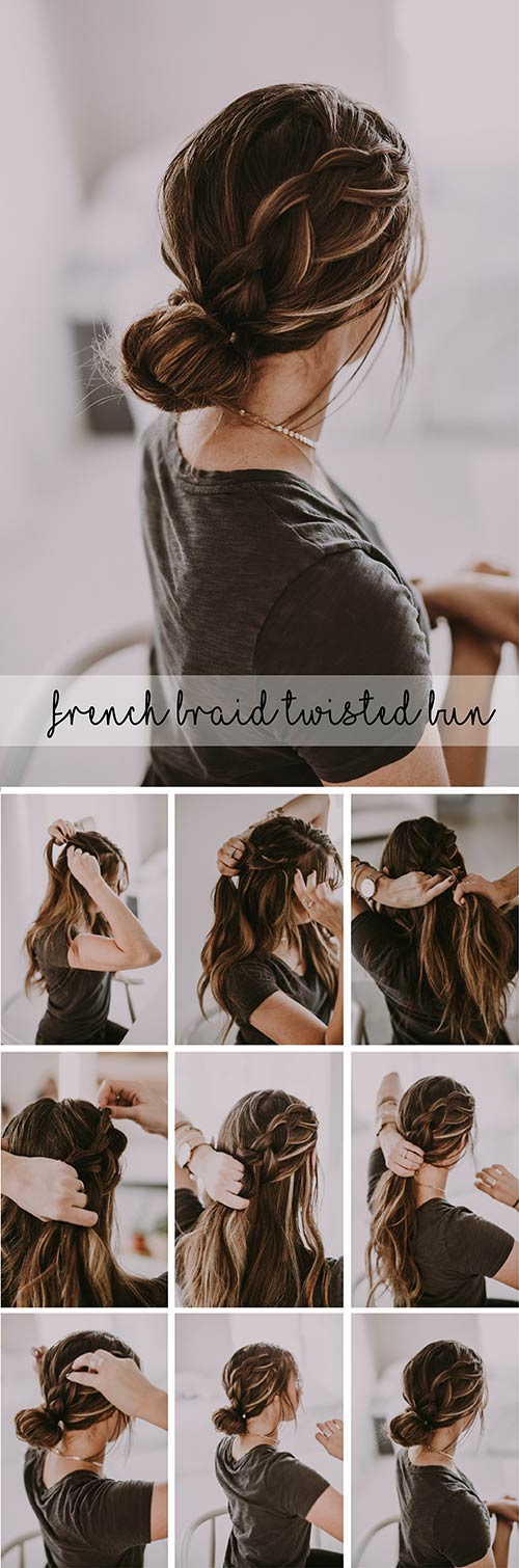 French-Braid-Twisted-Bun Awesome Hairstyles For Girls With Long Hair