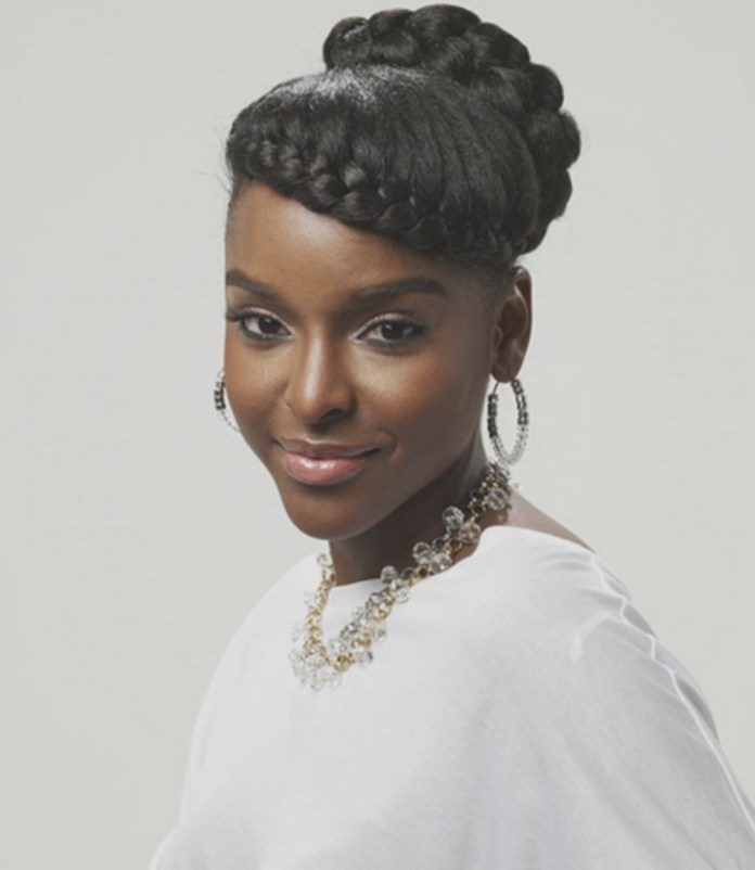 Front-Cornrow-Braids-with-Highlighted-Strands-and-a-Braided-Bun Most Stylish Prom Hairstyles for Black Girls
