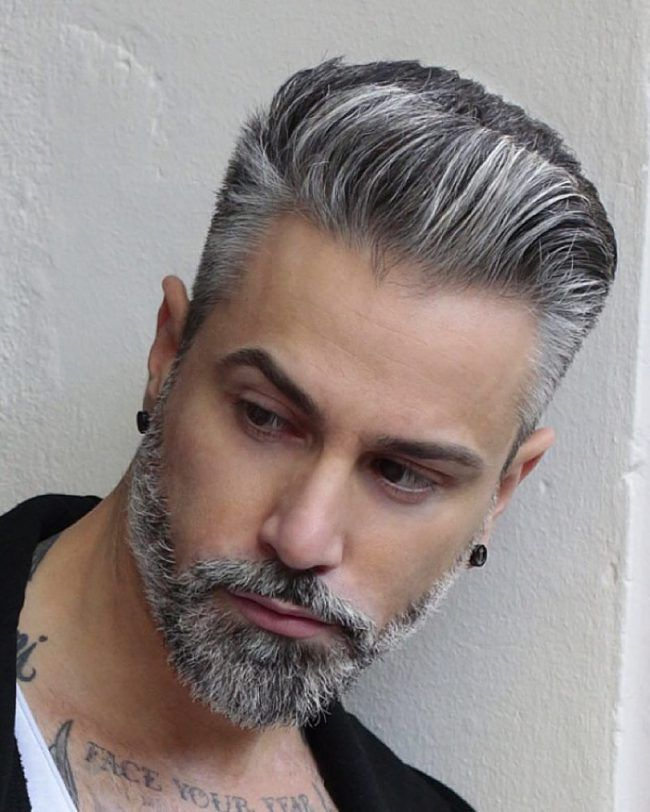 Front-Spiked-Classy-Hairstyle Grey Hairstyles for Men to Look Smart and Dashing