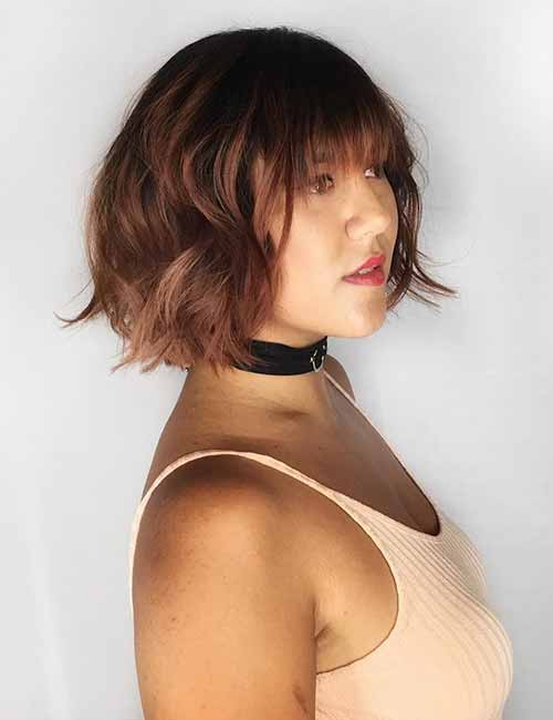 Layered-Bob-And-Straight-Cut-Bangs Lovely Styling Ideas For Layered Bob Hair