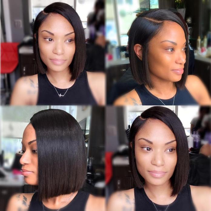 Long-Blunt-with-a-Deep-Side-Parting Exclusive African American Bob Hairstyles