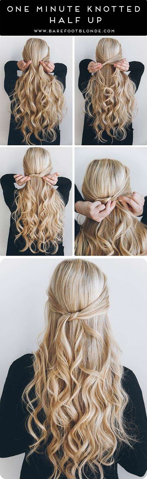 One-Minute-Knotted-Half-Up Awesome Hairstyles For Girls With Long Hair