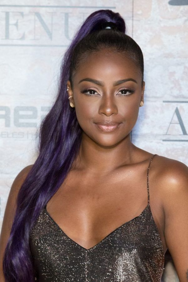 Purple-Lofty-Ponytail-Hairstyle Cute African American Hairstyles for Gorgeous Look