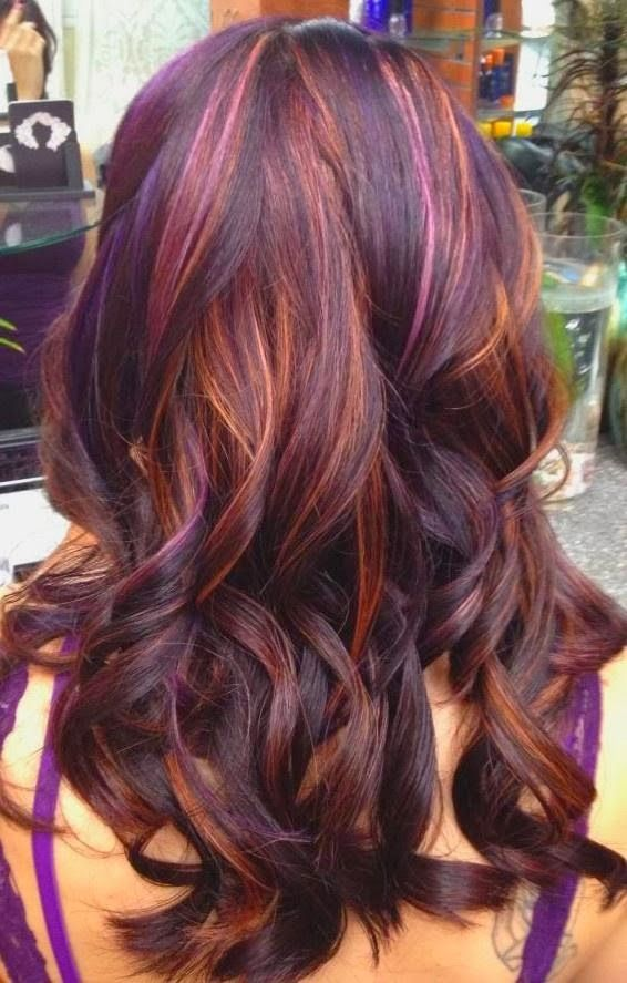 Purple-Red-Ombre-Brunette Best and Beautiful Hairstyles with Color