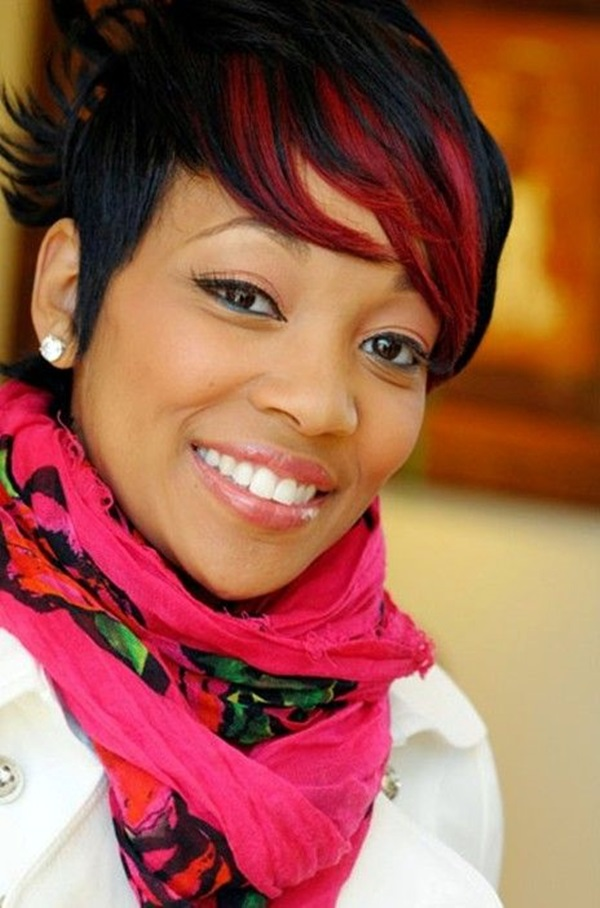 Red-Highlighted-Pixie-Cut Best African American Hairstyles with Color