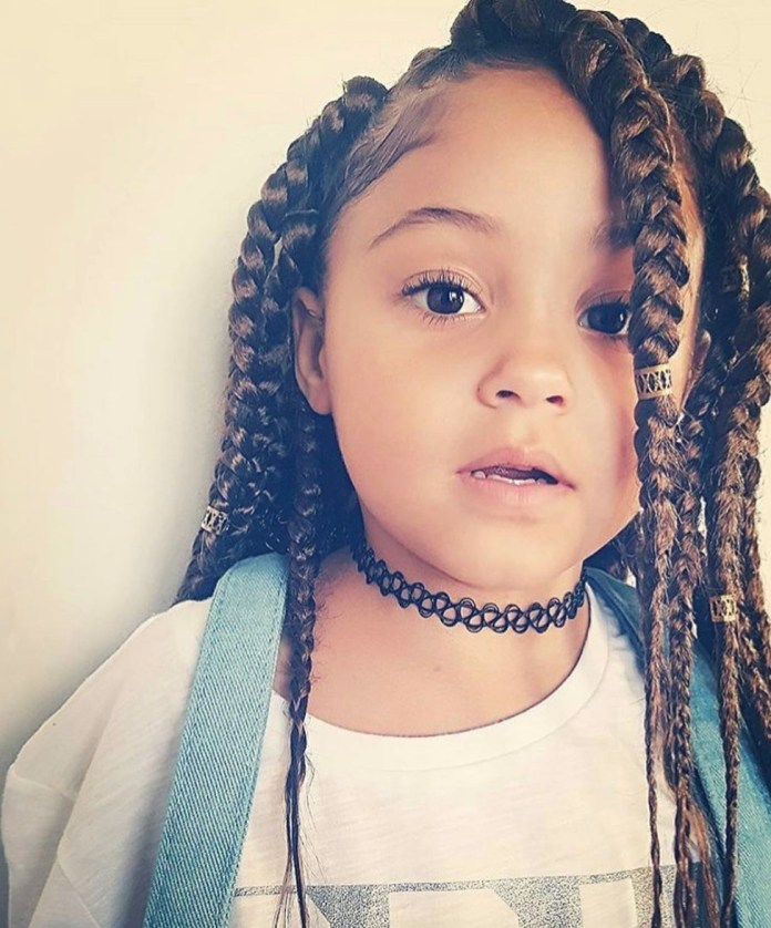 Reverse-Braided-Strands-Scattered-all-over-the-Head-Accessorized Cutest African American Kids Hairstyles