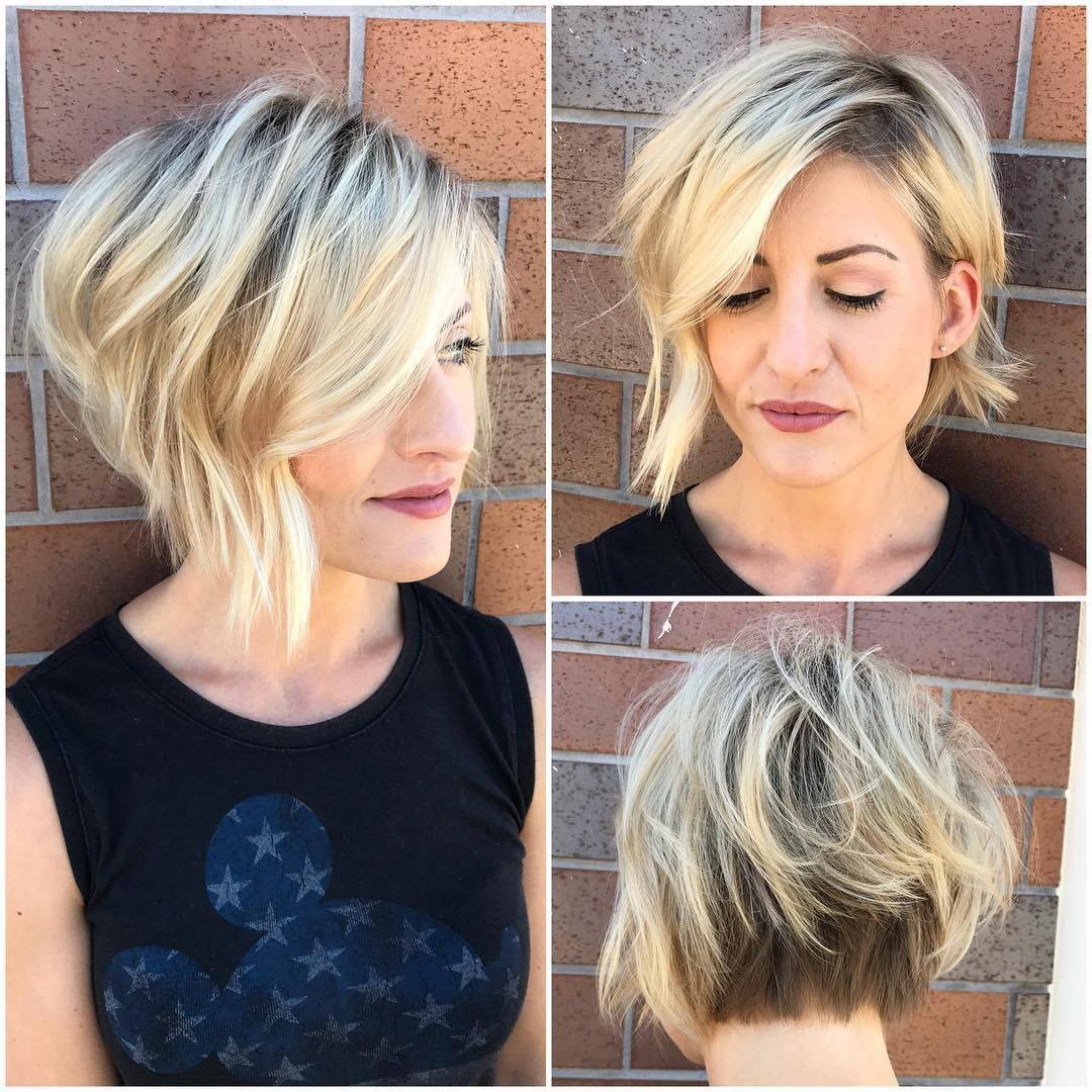 Short-Messy-Upside-Down-Bob Bob Haircuts 2019 for an Outstanding Appearance