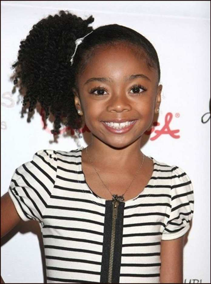 Side-Ponytail-with-Spiral-Curly-Hair-Strands-and-Tightly-Done-Hair Cutest African American Kids Hairstyles