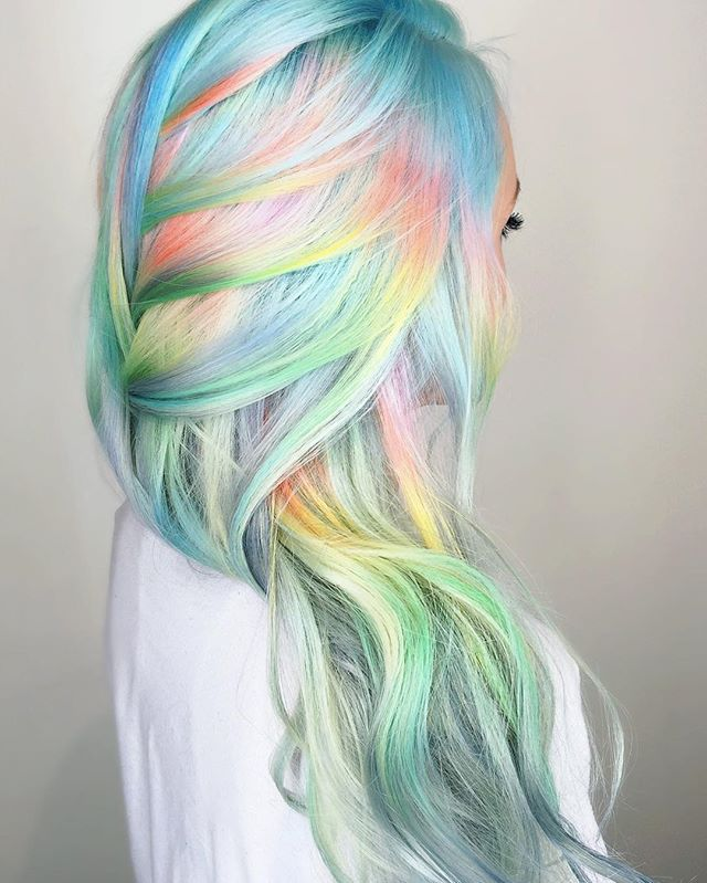 Soft-Pastel-Unicorn-Hair Best and Beautiful Hairstyles with Color