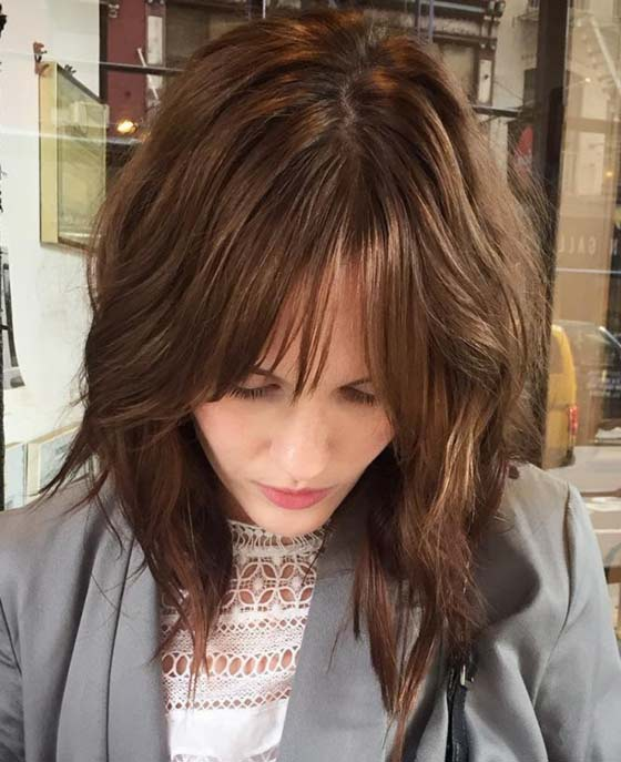 Subtle-Waves-With-Sparse-Bangs Layered Hairstyles With Bangs