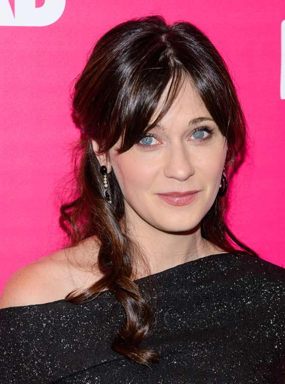 Swept-Back-Curls-With-Center-Parted-Bangs Layered Hairstyles With Bangs