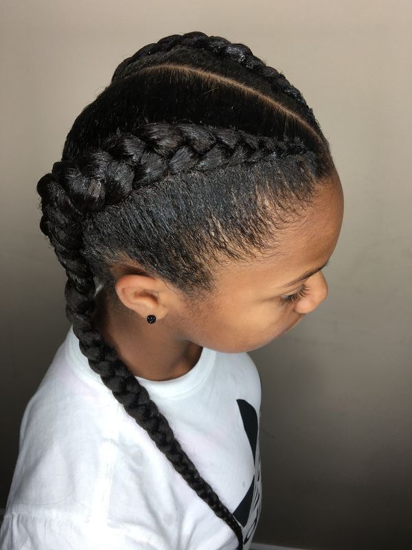 Thick-French-Braids-on-Both-the-Sides Cutest African American Kids Hairstyles