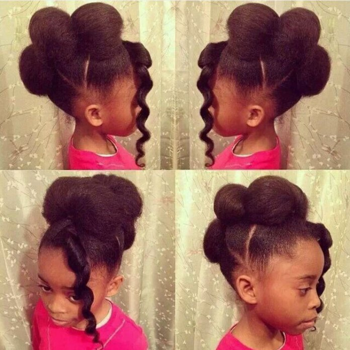Three-Fluffy-Buns-with-Three-Conical-Partitions-Bedecked Cutest African American Kids Hairstyles