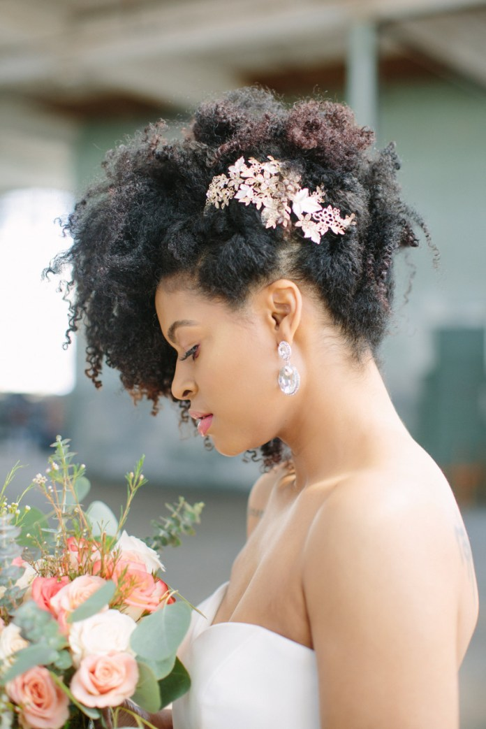 Updo-Natural-Curls-with-Clips Most Beautiful Natural Hairstyles for Wedding