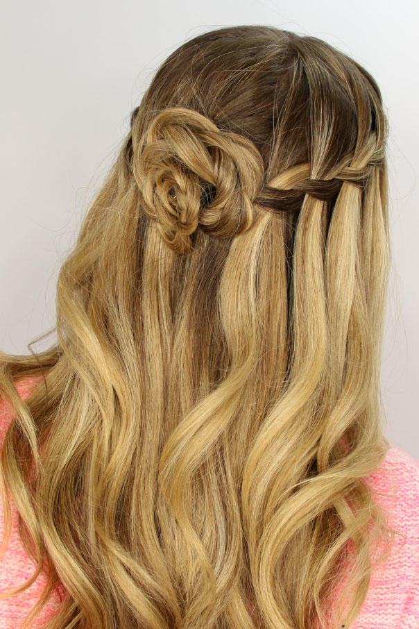 Waterfall-Flower-Braid Most Adorable Long Hairstyles with Braids