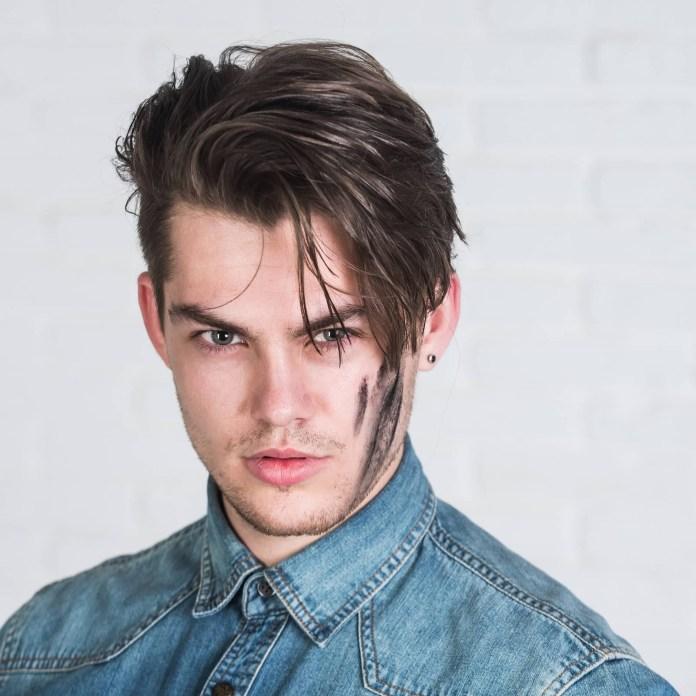 Widows-Peak-Side-Swept-Hairstyle Ultra Dashing Medium Hairstyles for Boys