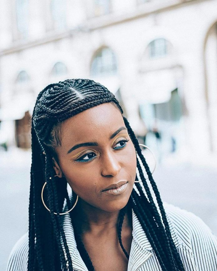 African-Braid-Hairstyle-with-Cornrows Stylish and Modern Braids Hairstyles
