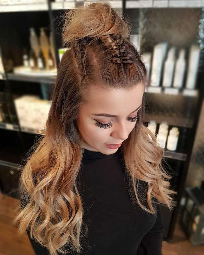 Braided-Topknot-Hairstyle Stylish and Modern Braids Hairstyles