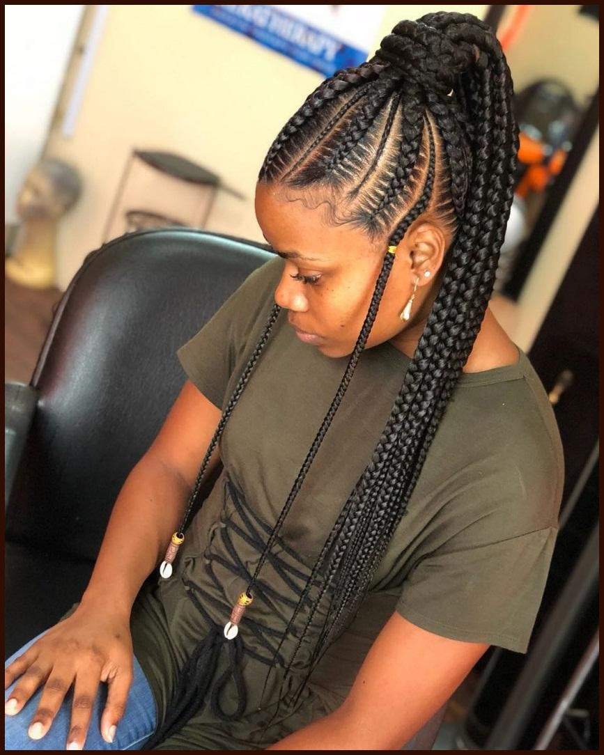 Braids-up-to-The-Ponytail Stylish and Stunning African American Braids