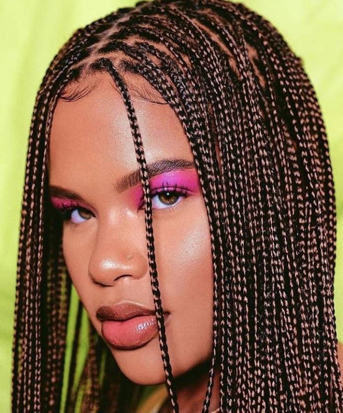 Center-Parted-Box-Braid-Hairstyle Cool and Trendy Knotless Box Braids Styles