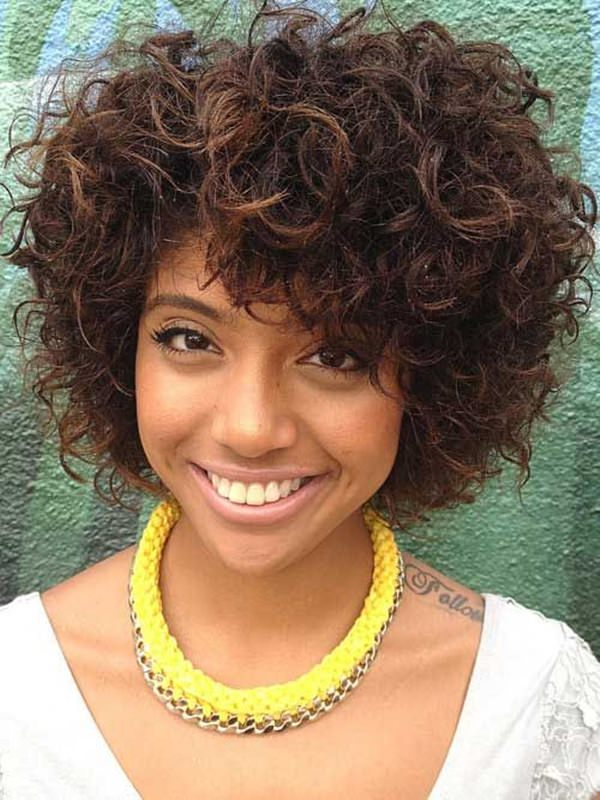 Chocolate-Brown-Hair-with-Spiral-Short-Hair Charming and Cute Hairstyles for Black Women