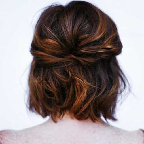 Cute-Easy-Short-Wavy-Hairdo-Back-View Cute Easy Hairstyles For Short Hair