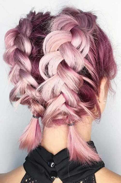 Cute-Short-Hairstyle-with-Two-Braids Alternatives Cute Braids for Short Hair