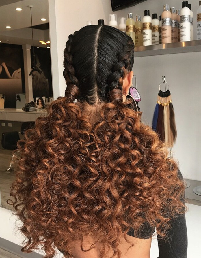 Double-French-Braids-with-Curly-Extensions Braided Hairstyles You Need to Try Next
