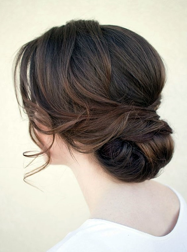 Multilayered-Bun-with-Fringes-in-Chocolaty-Brown-Shades Christmas Party Hairstyles to Enhance Your Look